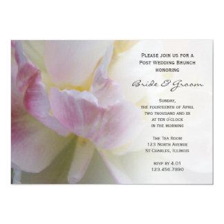 Rosa weißer Tulpe-Blumen-Posten-HochzeitBrunch Karte