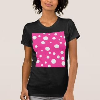 Rosa weißer Tupfen-Girly Mädchen-Spaß T-Shirt