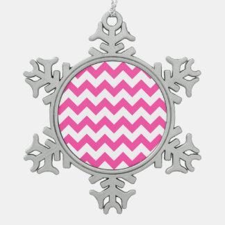 Rosa weißer Zickzack-Zickzack Muster Girly Schneeflocken Zinn-Ornament