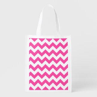 Rosa weißer Zickzack-Zickzack Muster Girly Wiederverwendbare Einkaufstasche