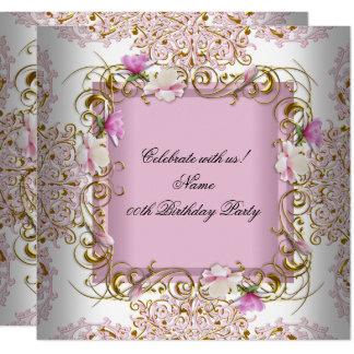 Rosa weißes Damast-GoldBlumen-Geburtstags-Party Karte