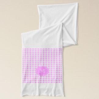 Rosa weißes Gingham-Muster, Ihr Monogramm Schal