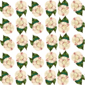 Rosa weißes Kamelienmuster Freistehende Fotoskulptur