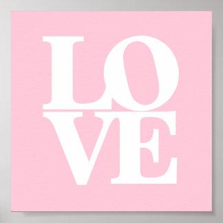 Rosa weißes Kinderzimmerplakat der Liebe
