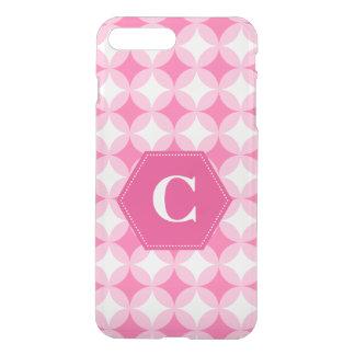 Rosa weißes Monogramm-Muster iPhone 8 Plus/7 Plus Hülle