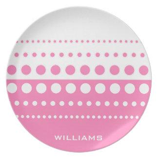 Rosa weißes Tupfen-Muster Flacher Teller