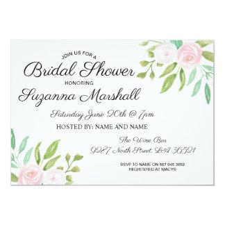 Rosa weißes Watercolor-Blumen-Brautparty laden ein Karte
