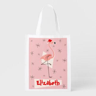 Rosa wiederverwendbare Namenstasche Flamingo-Sankt Wiederverwendbare Einkaufstasche