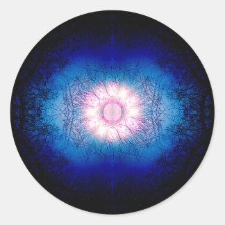 Rosa Wintersun-Mandala Runder Aufkleber