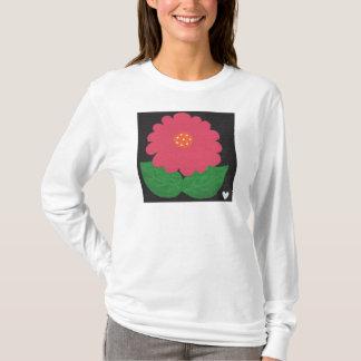 Rosa WUNDERLICHER BLUME der LS-T - Shirt weißer