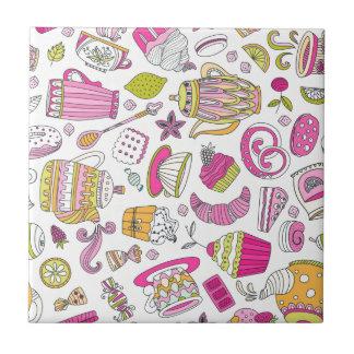Rosa Wüsten-und Süßigkeitens-Muster Kleine Quadratische Fliese