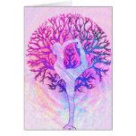 Rosa Yoga-Baum-Frau in den Pastellfarben Mitteilungskarte