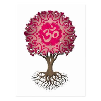 Rosa Yoga-OM-Baum des Lebens Postkarten