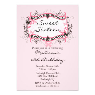 Rosa Zebra-16 Geburtstag-Geburtstags-Einladung