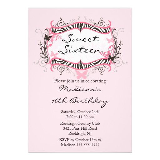 Rosa Zebra-16. Geburtstag-Geburtstags-Einladung