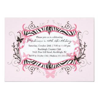 Rosa Zebra-16. Geburtstag-Geburtstags-Einladung 12,7 X 17,8 Cm Einladungskarte