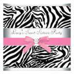 Rosa Zebra-16. Geburtstag-Geburtstags-Party Personalisierte Einladungskarten
