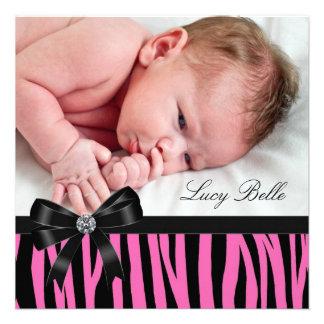 Rosa Zebra-Baby-Mädchen-Foto-Geburt Individuelle Einladung