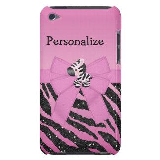 Rosa Zebra-, Bogen-u. Glitter-Tier Barely There iPod Hülle