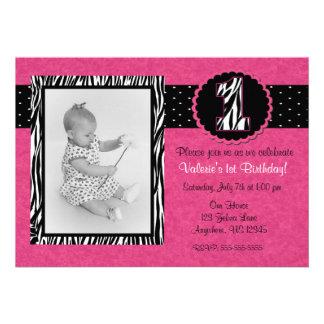 Rosa Zebra-Druck-Mädchen-1 Geburtstags-Einladung
