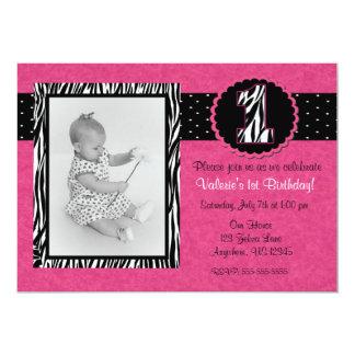 Rosa Zebra-Druck-Mädchen-1. Geburtstags-Einladung 12,7 X 17,8 Cm Einladungskarte