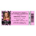 Rosa Zebra-Ereignis-Karten-Geburtstags-Party Personalisierte Ankündigung