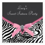 Rosa Zebra-Geburtstags-Party Einladung