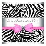 Rosa Zebra-Geburtstags-Party Individuelle Ankündigskarten