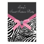 Rosa Zebra-Geburtstags-Party Einladungskarten