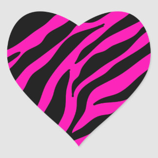 rosa Zebra Herz-Aufkleber