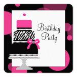 Rosa Zebra-Kuchen-Kuchen-Geburtstags-Party Personalisierte Einladungskarten