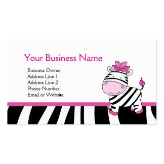 Rosa Zebra-kundengerechte Visitenkarte-Schablone Visitenkarten