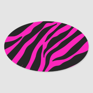 rosa Zebra Ovaler Aufkleber