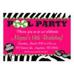 Rosa Zebra-Pool-Party-Geburtstags-Einladung
