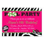 Rosa Zebra-Pool-Party-Geburtstags-Einladung 12,7 X 17,8 Cm Einladungskarte