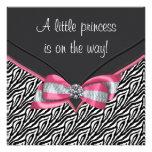 Rosa Zebra-Prinzessin Babyparty Personalisierte Einladungen