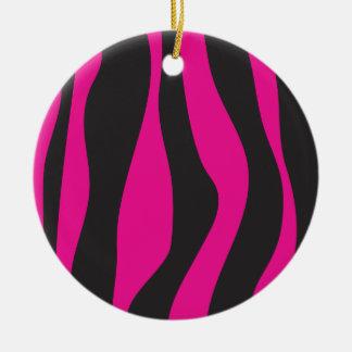 Rosa Zebra Rundes Keramik Ornament