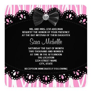 Rosa Zebra-Schläger Mitzvah Quadratische 13,3 Cm Einladungskarte