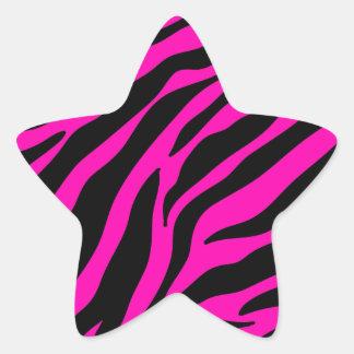 rosa Zebra Stern-Aufkleber