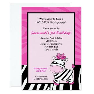 Rosa Zebra-Streifen-12x18 Geburtstags-Einladung Karte