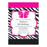 Rosa Zebra-Tween-Geburtstags-Party Einladung
