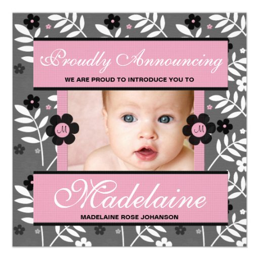 Rosa zeitgenössische Geburts-Mitteilungs-Foto-Kart Ankündigungskarten