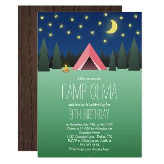 Rosa Zelt unter dem Stern-Geburtstags-Camping 12,7 X 17,8 Cm Einladungskarte