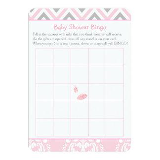 Rosa Zickzack Ballerina-Baby-Duschen-Bingo Karte