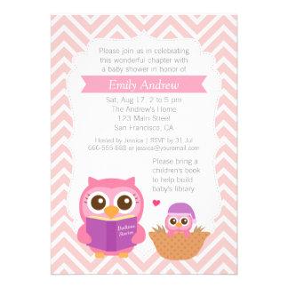 Rosa Zickzack Buch-Themed Eulen-Baby-Duschen-Party Einladungen