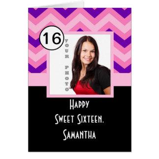 Rosa Zickzack personalisiertes 16. Geburtstag Karte
