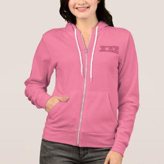 Rosa ZipHoodie mit rosa Buchstaben Hoodie