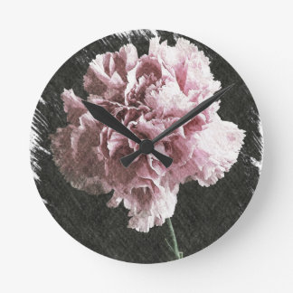 Rosagartennelke der Impressionismusmutter Tages Runde Wanduhr