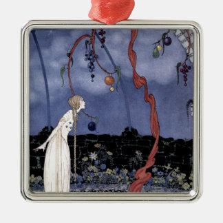 Rosalie und erstaunlicher Pflaumen-Baum Quadratisches Silberfarbenes Ornament