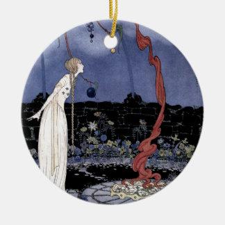Rosalie und erstaunlicher Pflaumen-Baum Rundes Keramik Ornament